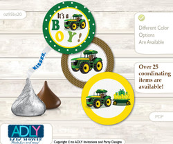 Printable  Boy Tractor Candy Kisses for Baby Boy Shower DIY green Yellow , Farm