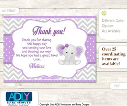 Elephant Thank you Printable Card with Name Personalization