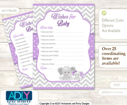 Girl Elephant Wishes for a Baby, Well Wishes for a Little Elephant Printable Card, Chevron, Purple Grey