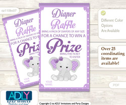 Girl Elephant Diaper Raffle Printable Tickets for Baby Shower, Purple Grey, Chevron
