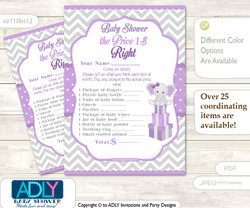 Printable Girl Elephant Price is Right Game Card for Baby Elephant Shower, Purple Grey, Chevron