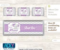 Girl Elephant Chocolate Bar Wrapper and Nuggets Candy Wrapper Label for Baby Girl Shower  Purple Grey , Chevron