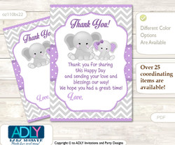 Girl  Elephant Thank you Cards for a Baby Girl Shower or Birthday DIY Purple Grey, Chevron