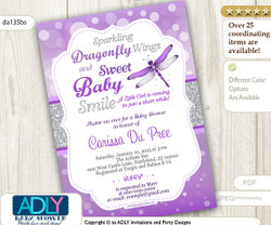 Dragonfly Baby Shower Invitation with bokeh purple silver glitter, butterfly invitation, grey,lavender,sparkling, sweet baby smile