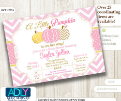 Little Pumpkin Pink Chevron, Polka Invitation for Baby Shower, Pumpkin girl shower, halloween baby shower, pink pumpkin