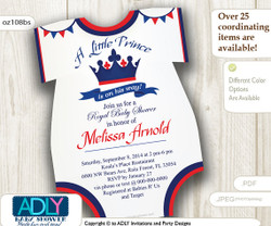 Red Dark Blue Prince Onesies Invitation for Baby Shower, blue red crown,white lace,little prince in on his way,royal shower,oneies