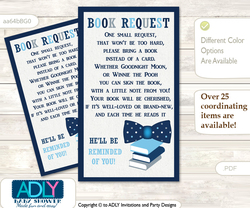 Request a Book Instead of a Card for Boy Bowtie Baby Shower or Birthday, Printable Book DIY Tickets, Polka,Blue Grey