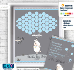 Boy Lamb Guest Book Alternative for a Baby Shower, Creative Nursery Wall Art Gift, Blue Grey, Polka