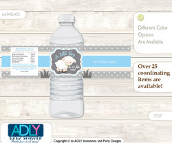 Boy Lamb Water Bottle Wrappers, Labels for a Lamb  Baby Shower, Blue Grey, Polka