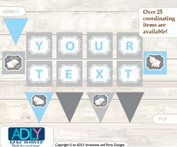 Personalized Boy Lamb Printable Banner for Baby Shower, Blue Grey, Polka