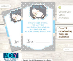 Boy  Lamb Thank you Cards for a Baby Boy Shower or Birthday DIY Blue Grey, Polka