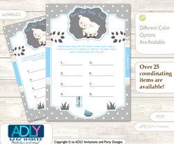 Boy Lamb Guess Baby Food Game or Name That Baby Food Game for a Baby Shower, Blue Grey Polka