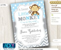 Boy Monkey Invitation for Baby Shower,Grey Baby Blue Polka Pattern. A Sweet Little Monkey is on his way, swing on over - ao119bs