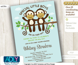 Mint Twins Boy Monkey Baby Shower Invitation card, Cute little monkeys boys are on their way with blossom branch card - aa53bs