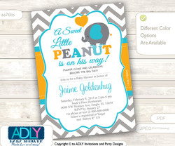 Orange, Turquoise Grey Boy Elephant Shower Invitation with Balloon