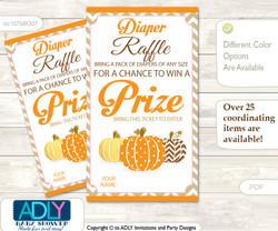 Boy Pumpkin Diaper Raffle Printable Tickets for Baby Shower, Orange Brown, Chevron