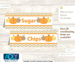 Printable Boy Pumpkin Buffet Tags or Food Tent Labels  for a Baby Shower or Birthday , Orange Brown, Chevron