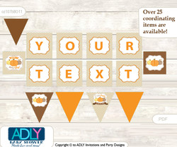 Personalized Boy Pumpkin Printable Banner for Baby Shower, Orange Brown, Chevron