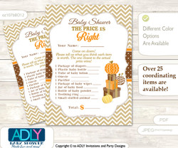 Printable Boy Pumpkin Price is Right Game Card for Baby Pumpkin Shower, Orange Brown, Chevron