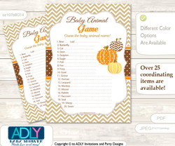 Printable Boy Pumpkin Baby Animal Game, Guess Names of Baby Animals Printable for Baby Pumpkin Shower, Orange Brown, Chevron