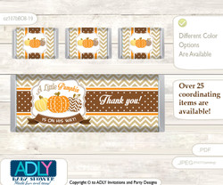 Boy Pumpkin Chocolate Bar Wrapper and Nuggets Candy Wrapper Label for Baby Boy Shower  Orange Brown , Chevron