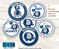 Baby Shower Peanut Elephant Cupcake Toppers Printable File for Little Peanut and Mommy-to-be, favor tags, circle toppers, Chevron