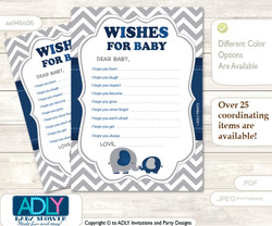 Peanut Elephant Wishes for a Baby, Well Wishes for a Little Elephant Printable Card, Chevron, Dark Blue