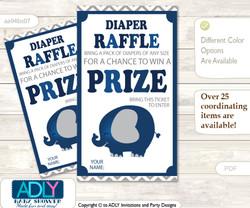 Peanut Elephant Diaper Raffle Printable Tickets for Baby Shower, Dark Blue, Chevron