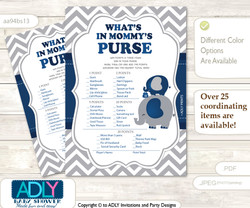 Peanut Elephant What is in Mommy's Purse, Baby Shower Purse Game Printable Card , Dark Blue,  Chevron