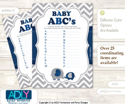 Peanut Elephant Baby ABC's Game, guess Animals Printable Card for Baby Elephant Shower DIY –Chevron