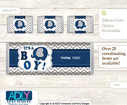 Peanut Elephant Chocolate Bar Wrapper and Nuggets Candy Wrapper Label for Baby Peanut Shower  Dark Blue , Chevron