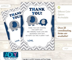 Peanut  Elephant Thank you Cards for a Baby Peanut Shower or Birthday DIY Dark Blue, Chevron