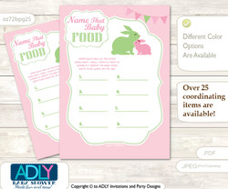 Girl Bunny Guess Baby Food Game or Name That Baby Food Game for a Baby Shower, Pink Green Rabbit