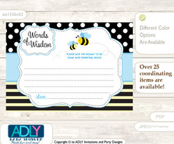Black Blue Boy Bee Words of Wisdom or an Advice Printable Card for Baby Shower, Honey