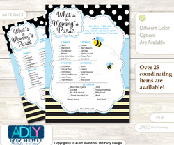 Printable Boy Bee Price is Right Game Card for Baby Bee Shower, Black Blue, Honey  Boy Bee What is in Mommy's Purse, Baby Shower Purse Game Printable Card , Black Blue,  Honey