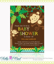 Personalized Jungle Monkeys Baby Shower Printable DIY party invitation for boy - ONLY digital file - you print