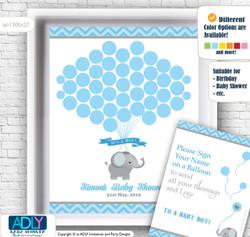Guest Book Alternative for a Baby Shower, Creative Nursery Wall Art Gift, Blue Grey, Chevron