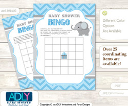 Printable Grey Blue  Elephant Bingo Game Printable Card for Baby Boy Shower DIY grey, Grey Blue , Chevron