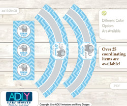 Printable Boy Elephant Cupcake, Muffins Wrappers plus Thank You tags for Baby Shower Grey Blue , Chevron