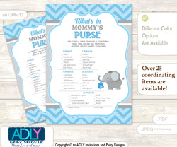 Boy Elephant What is in Mommy's Purse, Baby Shower Purse Game Printable Card , Grey Blue ,  Chevron