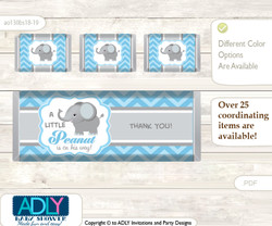 Boy Elephant Chocolate Bar Wrapper and Nuggets Candy Wrapper Label for Baby Boy Shower  Grey Blue  , Chevron