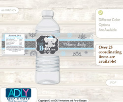 Snowflake Elephant Water Bottle Wrappers, Labels for a Elephant  Baby Shower, Grey Blue, Winter