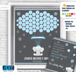 Snowflake Elephant Guest Book Alternative for a Baby Shower, Creative Nursery Wall Art Gift, Grey Blue, Winter