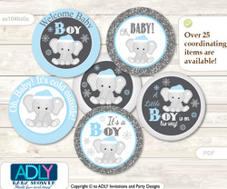 Baby Shower Snowflake Elephant Cupcake Toppers Printable File for Little Snowflake and Mommy-to-be, favor tags, circle toppers, Winter, Grey Blue