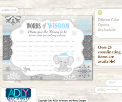 Grey Blue Snowflake Elephant Words of Wisdom or an Advice Printable Card for Baby Shower, Winter