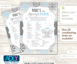 Snowflake Elephant What is in Mommy's Purse, Baby Shower Purse Game Printable Card , Grey Blue,  Winter