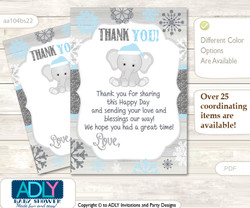 Snowflake  Elephant Thank you Cards for a Baby Snowflake Shower or Birthday DIY Grey Blue, Winter