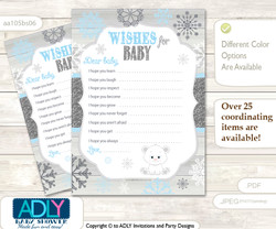 Boy Polar Bear Wishes for a Baby, Well Wishes for a Little Polar Bear Printable Card, Snowflake, grey blue