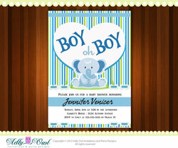 Personalized Boy Oh Boy Elephant Baby Shower Printable DIY party invitation for boy - ONLY digital file - you print