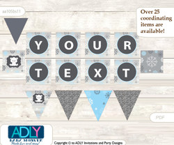 Personalized Boy Polar Bear Printable Banner for Baby Shower, grey blue, Snowflake